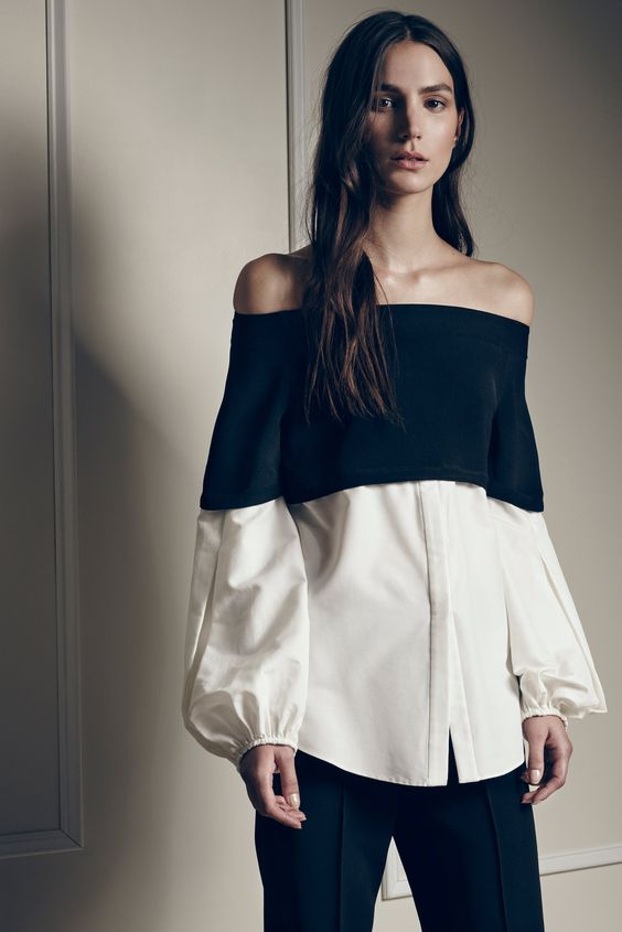 Black and White Off the Shoulder Blouse by Hellessy Spring 2016 Ready-to-Wear Collection Photos - Vogue: