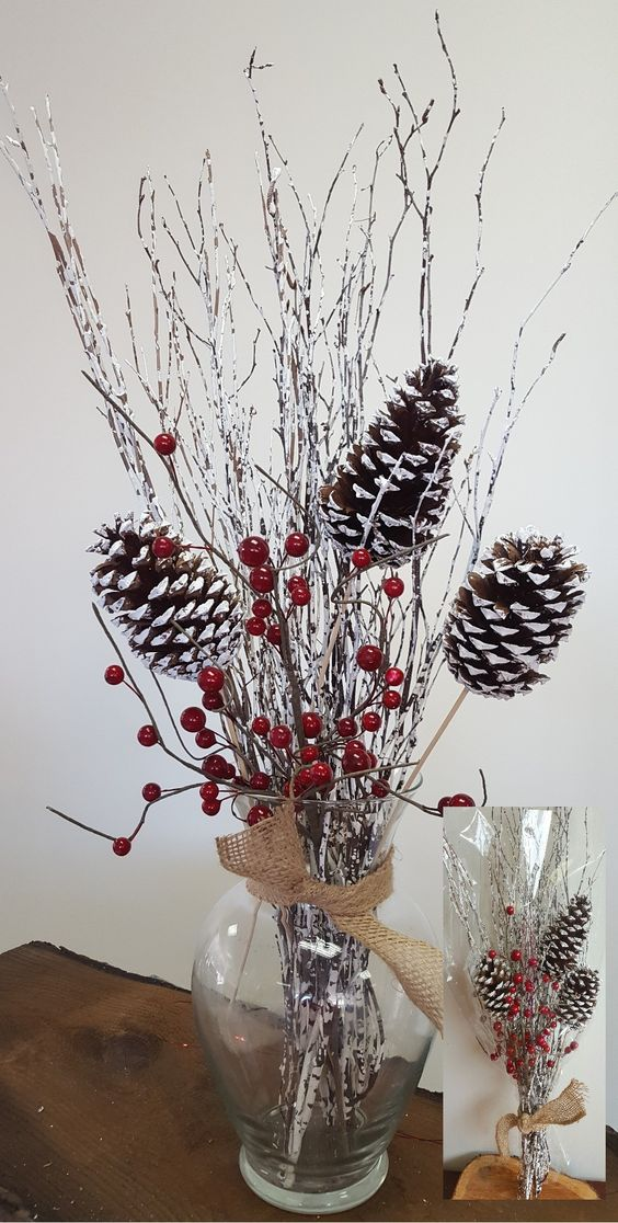 3 Piece Birch Twig with Stemmed Pine Cones and Berries Bouquet Set: