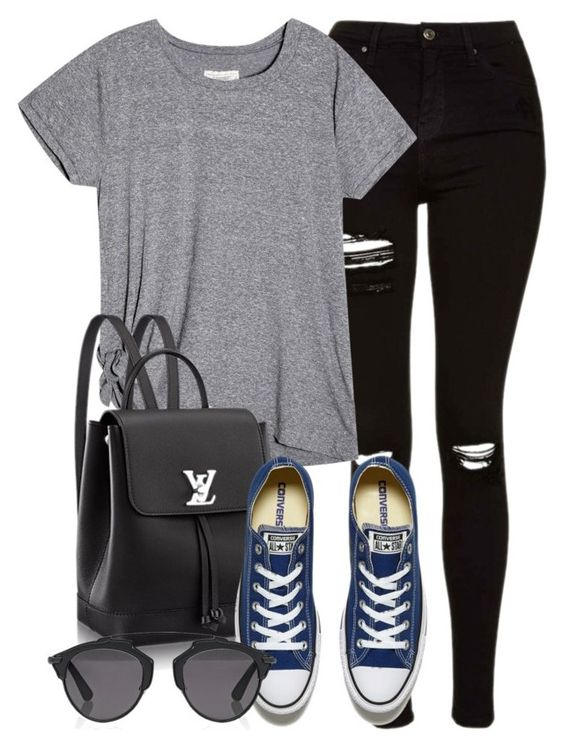 """""""Style #10410"""" by vany-alvarado ❤ liked on Polyvore featuring Topshop, Converse and Christian Dior"""