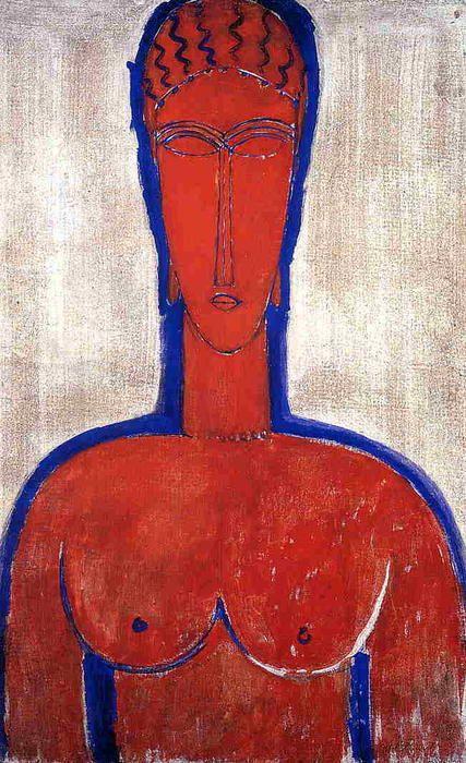 'Big Red Buste (Leopold II)', öl auf leinwand von Amedeo Modigliani (1884-1920, Italy)