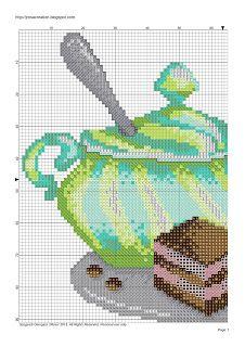 JRosa világa: Cappuccino with cake cross stitch pattern - Cappuccino és süti keresztszemes minta