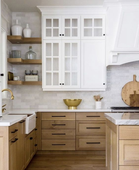 Contrasting Colored Kitchen Cabinets Modern Wood Kitchen Marble Countertops Kitchen Scandinavian Kitchen Design