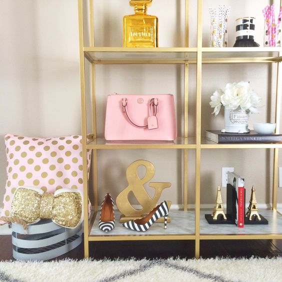 Gold shelves - home office - home decor