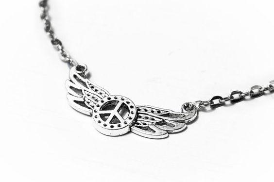 Kragen Anhänger Friedenszeichen Halskette от SteampunkBDSM на Etsy