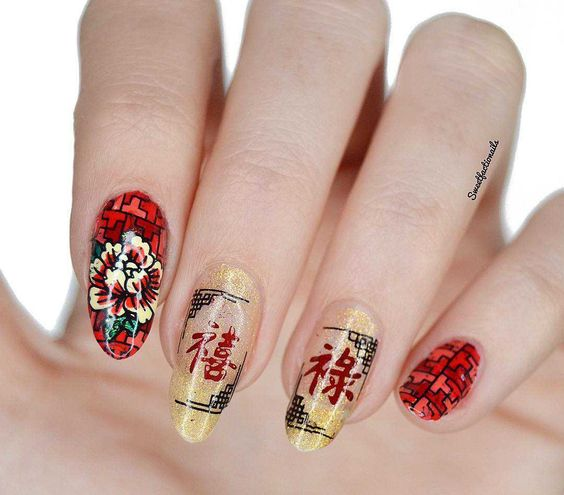 Lunar New Year Occasions Prosperity M043 Nail Stamping Plate New Years Nail Art Dragon Nails Cool Nail Designs