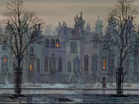 """Outdoor scenes focusing on the archetecture from Disney's 1961 animated film, """"101 Dalmatians""""."""