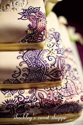 Henna Mehndi Wedding Cake by Shockley's Sweet Shoppe.