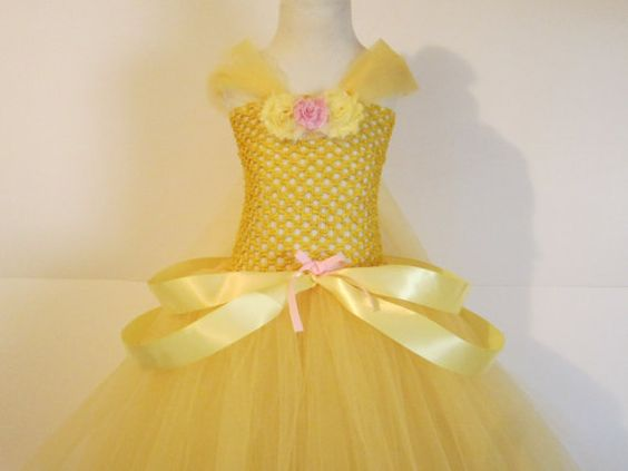 Tutu Dress Belle Costume Full Lenght Baby by AmericanBlossoms