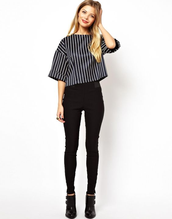 ASOS Tube Pants With Elastic Side Detail