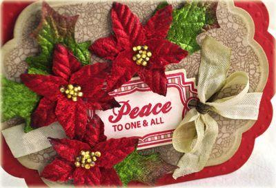 Close up of Debbie Olson Christmas Card with petaloo flowers.