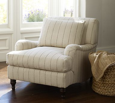 Carlisle Upholstered Armchair  potterybarn   Striped chair in ivory and grey brown. Carlisle Upholstered Armchair  potterybarn   Striped chair in