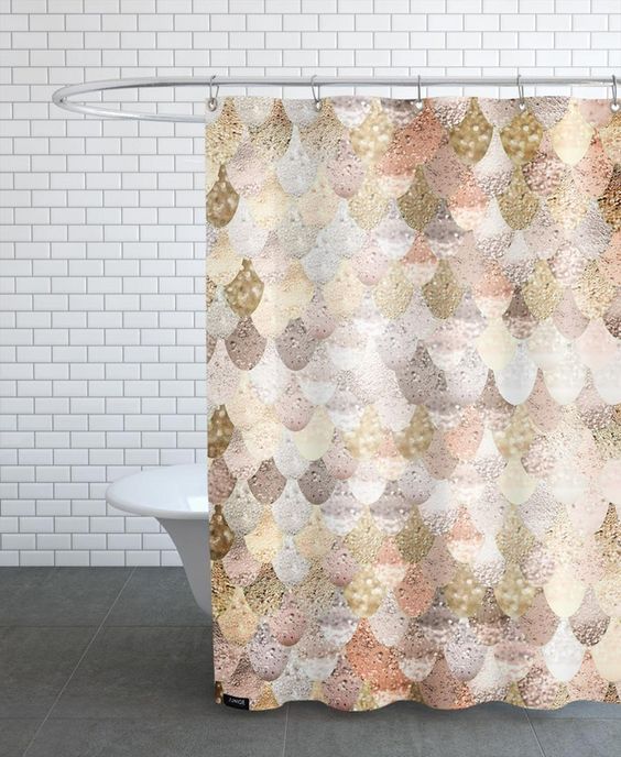 mermaid gold as shower curtain by monika strigel juniqe bathroom remodel pink gold silver. Black Bedroom Furniture Sets. Home Design Ideas