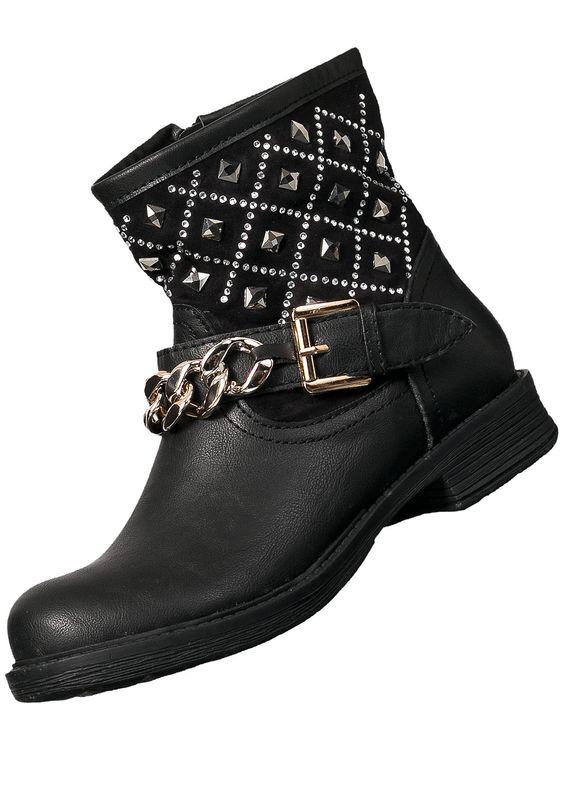 Seventyseven Lifestyle Damen SWF07 Biker Boots Strassschaft und Goldkette schwarz kaufen | 77Store