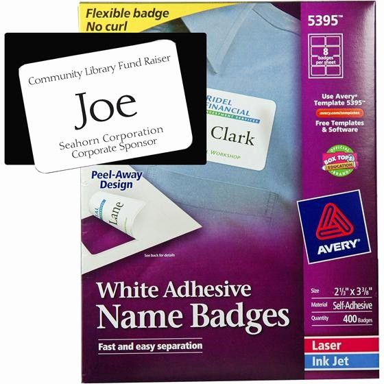Avery Labels Name Tags Templates Awesome Avery 5395 White Adhesive Name Badges 2 1 3 X 3 3 8 Name Badge Template Name Tag Templates Label Templates