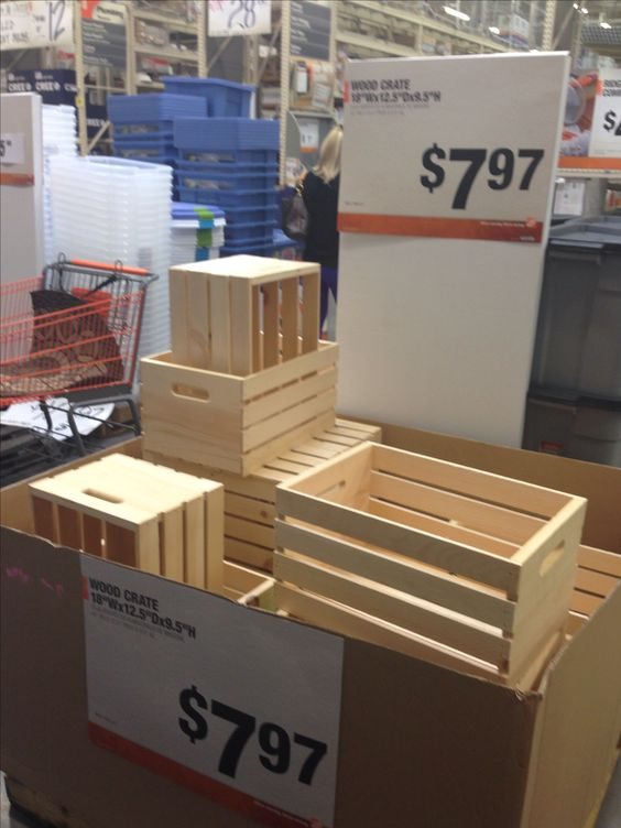 Instead of Michaels or Joann's, buy wooden crates at Home Depot. They're $8 as opposed to $13 and paint/stain is right around the corner.