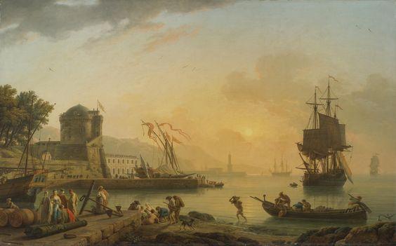 クロード・ジョセフ・ヴェルネ (Claude-Joseph Vernet) 「A Grand View Of The Sea Shore With Buildings Shipping And Figures」