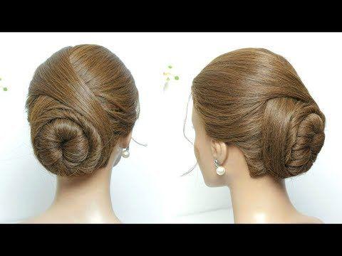 Elegant Bun Hairstyle Easy Updo For Long Medium Hair Tutorial Youtube Bun Hairstyles For Long Hair Hair Tutorials For Medium Hair Medium Hair Styles