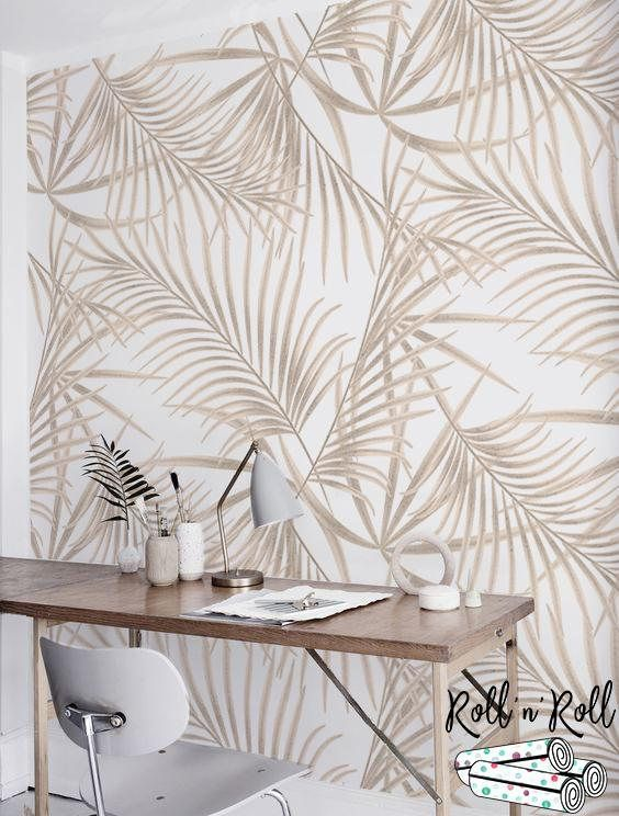 Gold Palm Removable Wallpaper Golden Leaves Tropical Wall Bedroom Decor Dark Tropical Wall Decor Minimalist Bedroom Decor