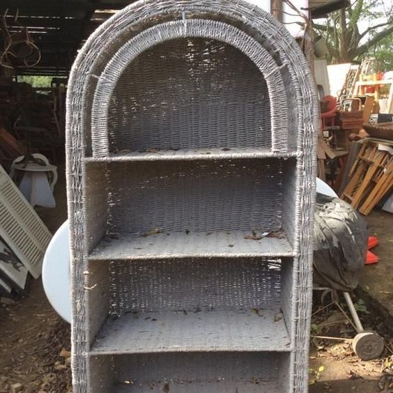 A grey cane bookshelf with arched top too cool! @ HEY JUDES BEST DEAL! HEY JUDES OPEN - OPEN all public holidays, long weekends @both Hey JUDES shops same hours