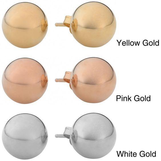 Fremada 14k Gold mm Ball Earrings