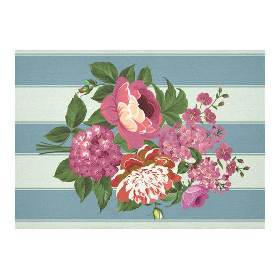Vintage Beautiful Pink Floral Teal Aqua Cotton Linen Tablecloth 60