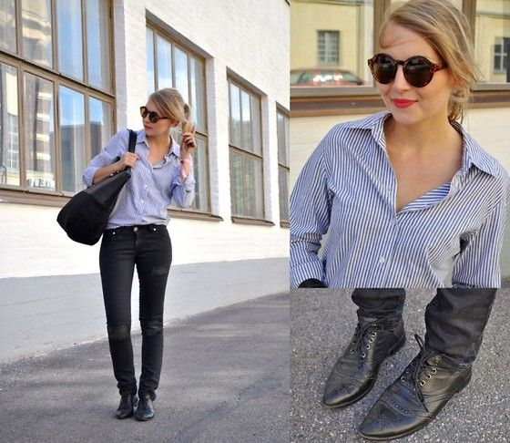 Weekday Sunglasses, Seppälä Shirt, Selected Femme Bag, Panic In Paradise Jeans, Kapp Ahl Shoes