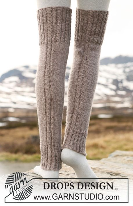 Knit Leg Warmers Cable Pattern : Drops design, Leg warmers and Legs on Pinterest