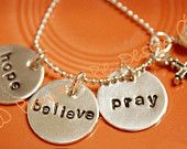 Mary's Hope, Believe, Pray Sterling Silver Hand Stamped Necklace with Cross and Pearl by Pumpkin Pie Design on Etsy - 020
