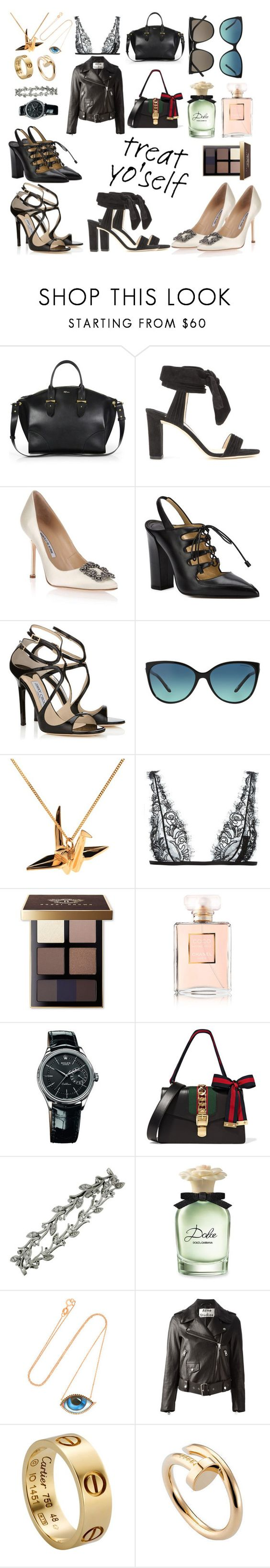 """Treat Yo' Self"" by gabriela-ignatova ❤ liked on Polyvore featuring Alexander McQueen, Jimmy Choo, Manolo Blahnik, Paul Andrew, Tiffany & Co., Origami Jewellery, La Perla, Bobbi Brown Cosmetics, Chanel and Rolex"