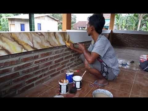 Cat Tembok Motif Marmer Dan Kayu Jati Solo 085740958567 Youtube Dinding Panel Dinding Kayu