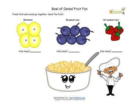 Simple counting worksheet for children using fruit.  Cereal is a healthier breakfast when you add some fresh fruit.