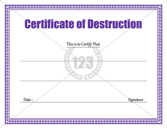 Destruction Certificate Archives - 123 Certificate Templates 123 - certificate of compliance template