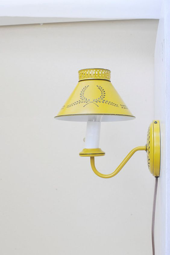 Yellow Wall Sconces : Vintage Toleware Tole Painted Mustard Yellow 1950s Wall Sconce Lamp with Metal Shade Metals ...