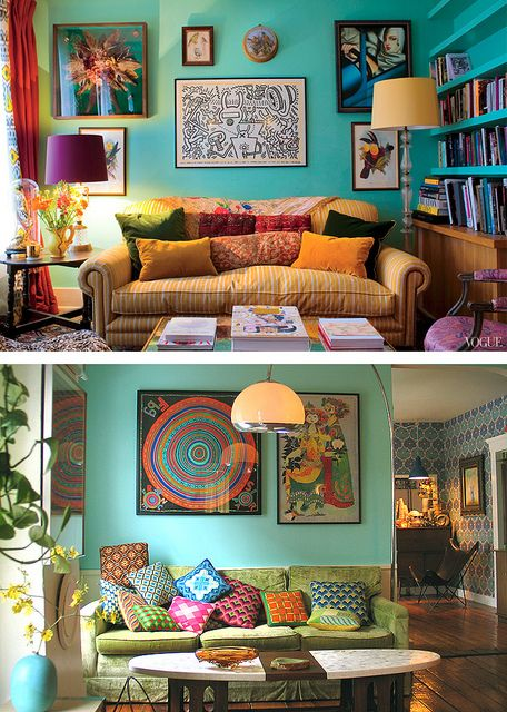 blue walls, eclectic style & multi coloured furnishings