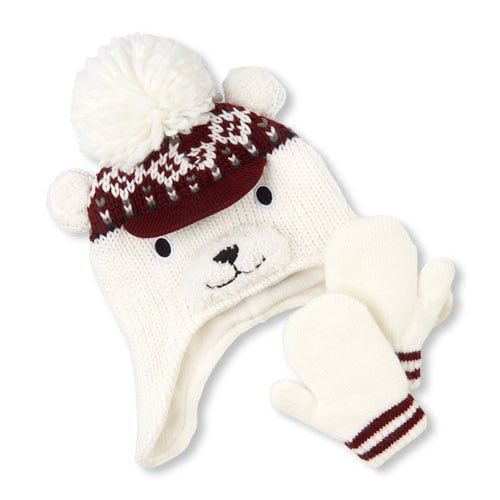 The Childrens Place Girls Baby Critter Mitten and Hat Set