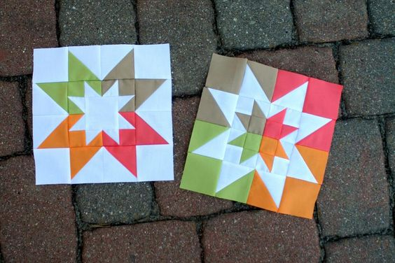 Nice use of color reversals. All half-squard triangles, just different sizesVice Versa Block of the Month Club: April