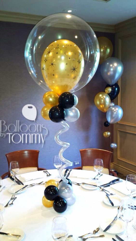Black and gold centerpieces balloons by tommy