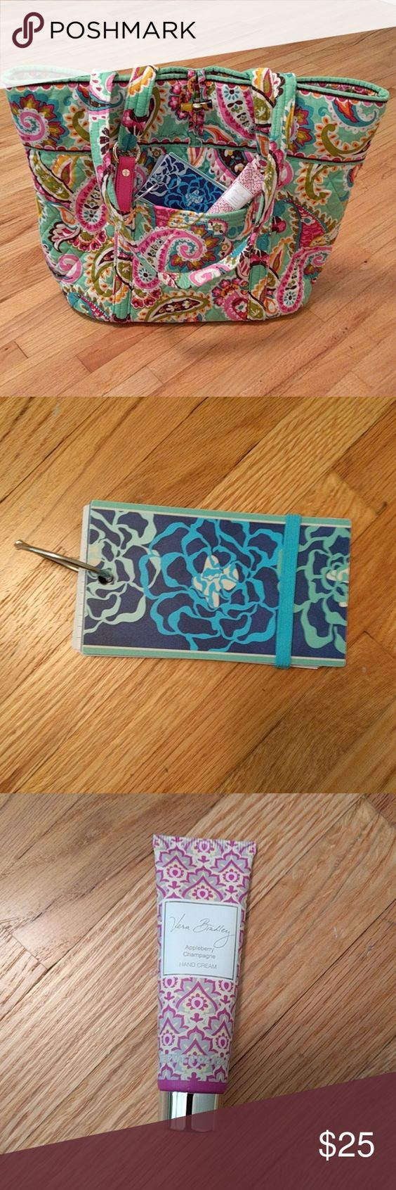 Vera Bradley Accessories Katalina Blue print study index cards with four dividers. Divider tabs look worn. Other than that it is in good condition. Travel size Appleberry Champagne scent hand cream. And pink leather keychain. On one end of the keychain it has a hook you can use to attach to a bag. The other end you could use for your keys. Vera Bradley Accessories
