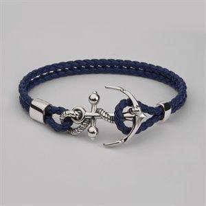 Men's Anchor Leather Wrist Bracelet - Silver & Gold - Blue Leather - Unique Jewellery by Stephen Einhorn London