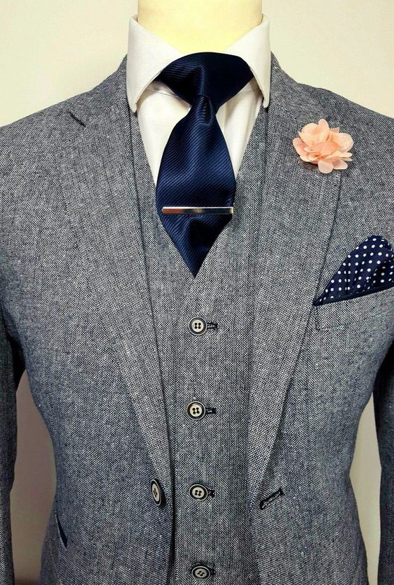 Mens grey 3 piece tweed suit wedding party prom tailored smart
