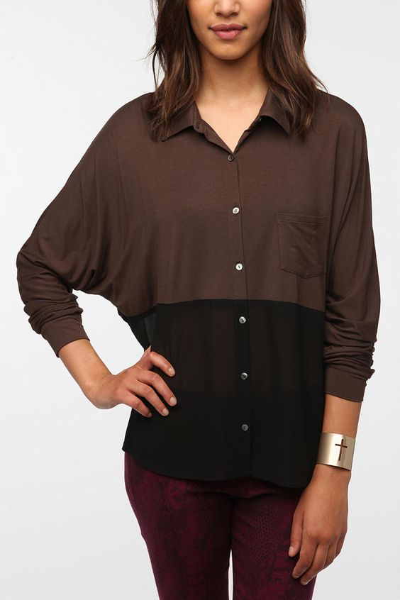 Sparkle & Fade Knit Chiffon Hem Button-Down Top  #UrbanOutfitters