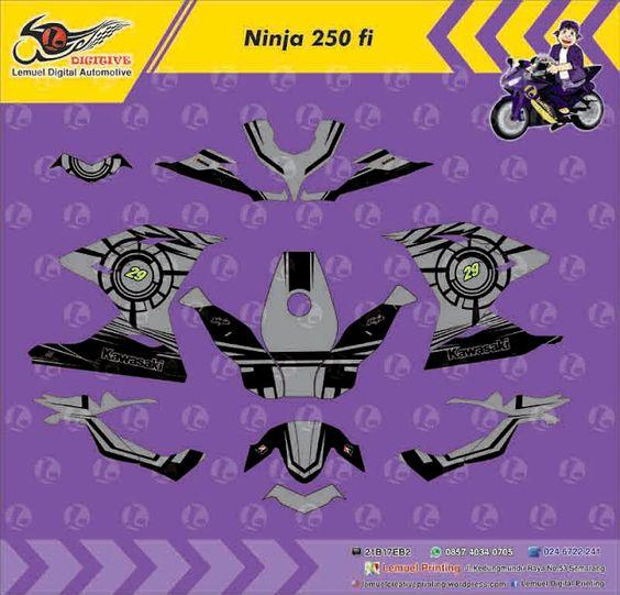 Custom Decal Vinyl Full Body Striping Motor Kawasaki Ninja 250 FI Thema Element Grey 29 Berkualitas by DIGITIVE