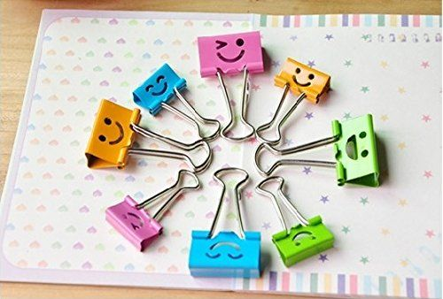 Pack of 40 Cute Lovely Smiling Face Spring-Loaded File Or…