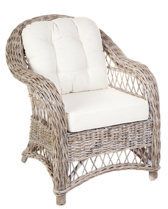 Rattan Armchair & Footstool in White Wash – Allissias Attic & Vintage French Style