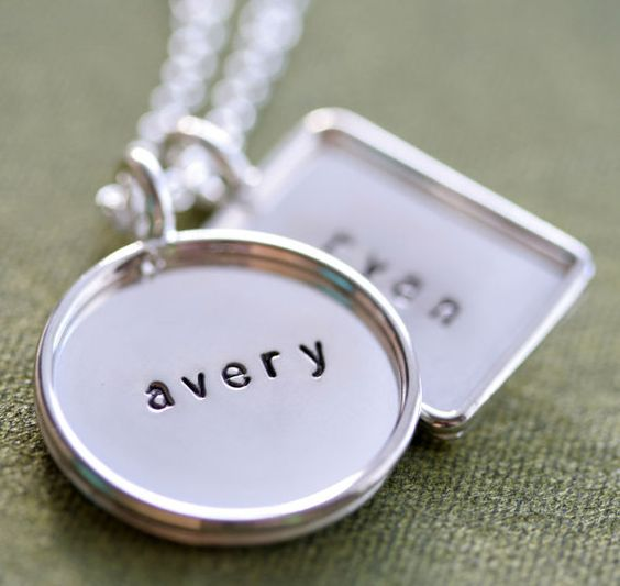 "7/8"" Personalized Hand Stamped Sterling Silver Mixed Shape Pendants Sterling Silver Rims - Stamping on BOTH Sides"