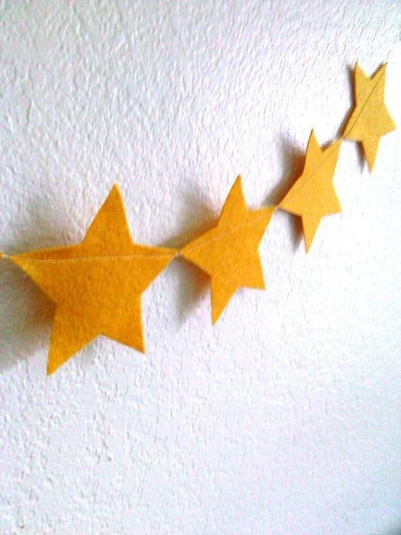 Gold Star Garland Felt Garland Felt Stars Star by heartFeltbyA, $12.00