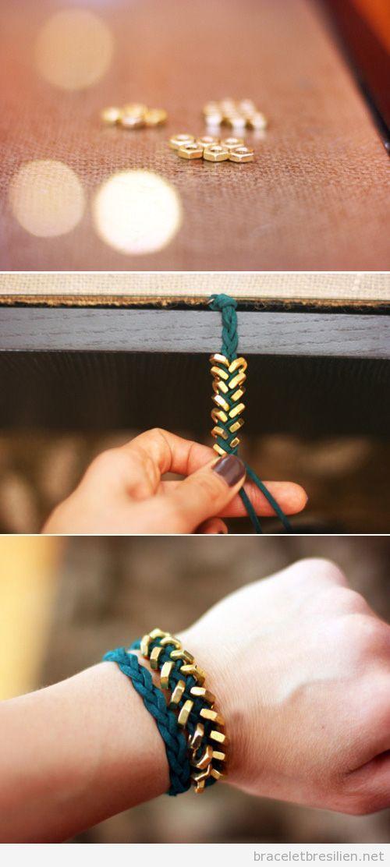 Bracelet DIY en suédine tressé et écrous, tuto | Bracelets Brésiliens | Tout sur comment réaliser bacelets brésiliens et bracelets en macramé