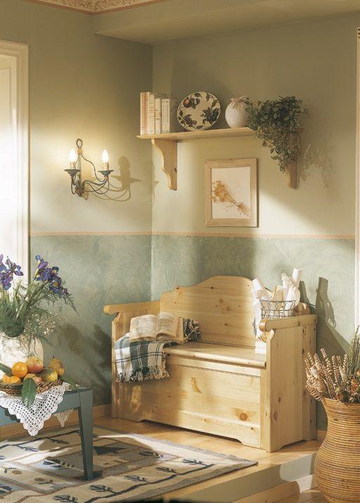 Cassapanca con braccioli in pino massello con pratico contenitore costruita in legno - Mobili in pino naturale ...