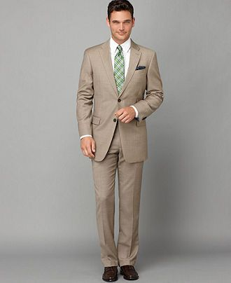 Tommy Hilfiger Suit Separates, Tan Sharkskin Slim Fit - Mens Suits