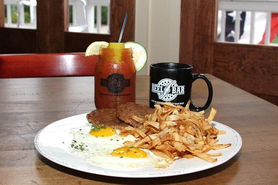 Breakfast the The Reel Bar, Put-in-Bay. Is that a Bloody Mary I see there? (: